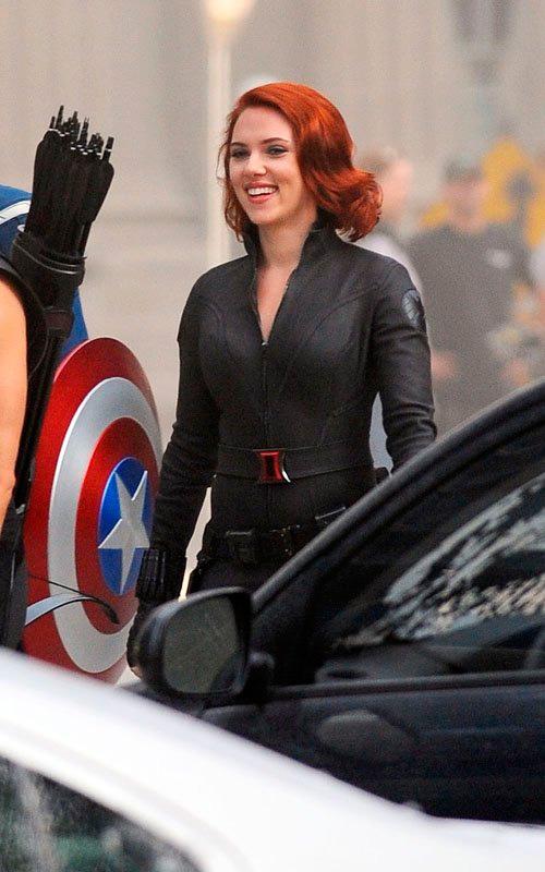 El Capitán América, Viuda Negra, Ojo de Halcón en el set