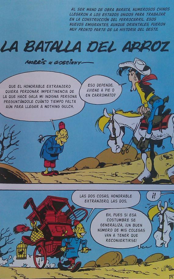Interior del cómic Lucky Luke: La Batalla del Arroz, publicado por Ediciones Kraken