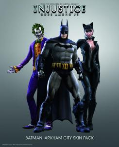 Aspectos del juego Batman: Arkham City para Batman, Catwoman y Joker para el juego Injustice Gods Among Us (2013)