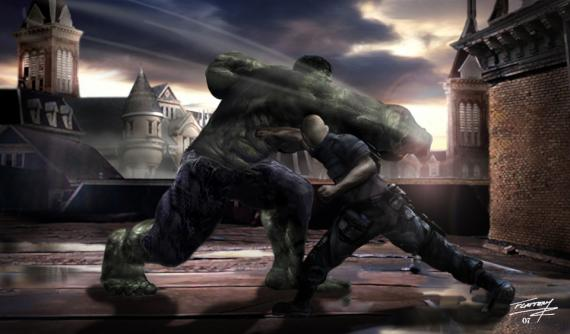 Concept art de The Incredible Hulk / El Increíble Hulk (2008), por el artista Tim Flaterry