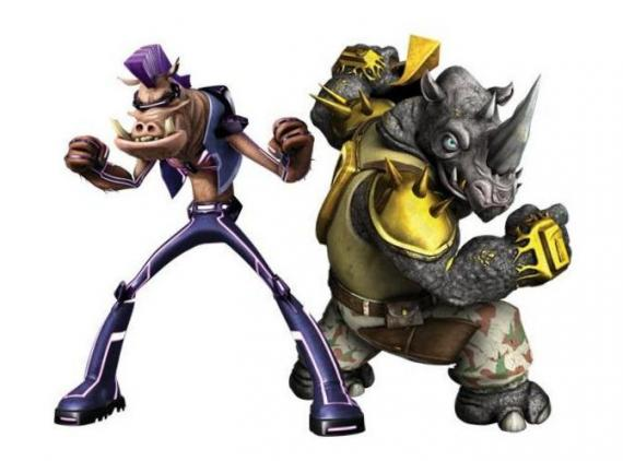 Diseños de Bebop y Rocksteady en la serie animada Teenage Mutant Ninja Turtles