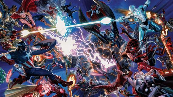 Imagen promocional del evento de Marvel Cómics Secret Wars, de mayo de 2015