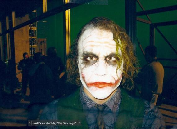 Imagen del set de The Dark Knight (2008), Heath Ledger como el Joker