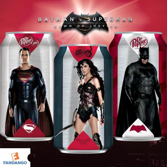 Material promocional de Batman v Superman por Dr. Pepper