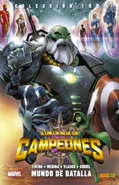 Portada tomo español 100% Marvel. Contienda de Campeones 1: Mundo de Batalla, arte por Paco Medina