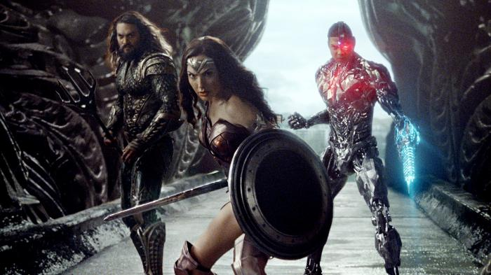 Aquaman, Wonder Woman y Cyborg en una imagen de Justice League (2017)