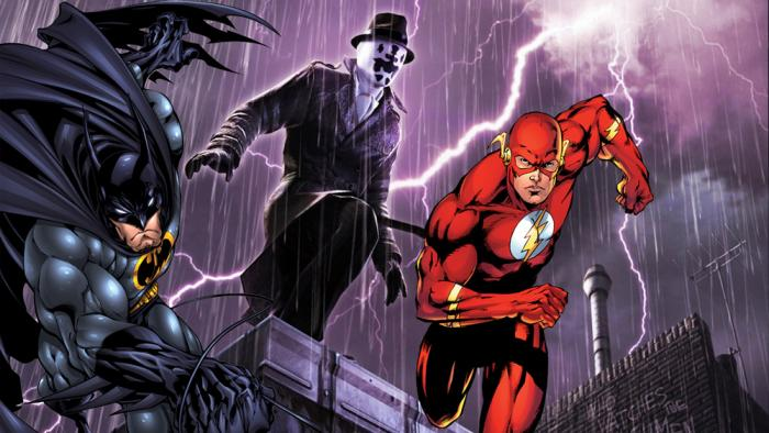 Rorschach con Batman y Flash