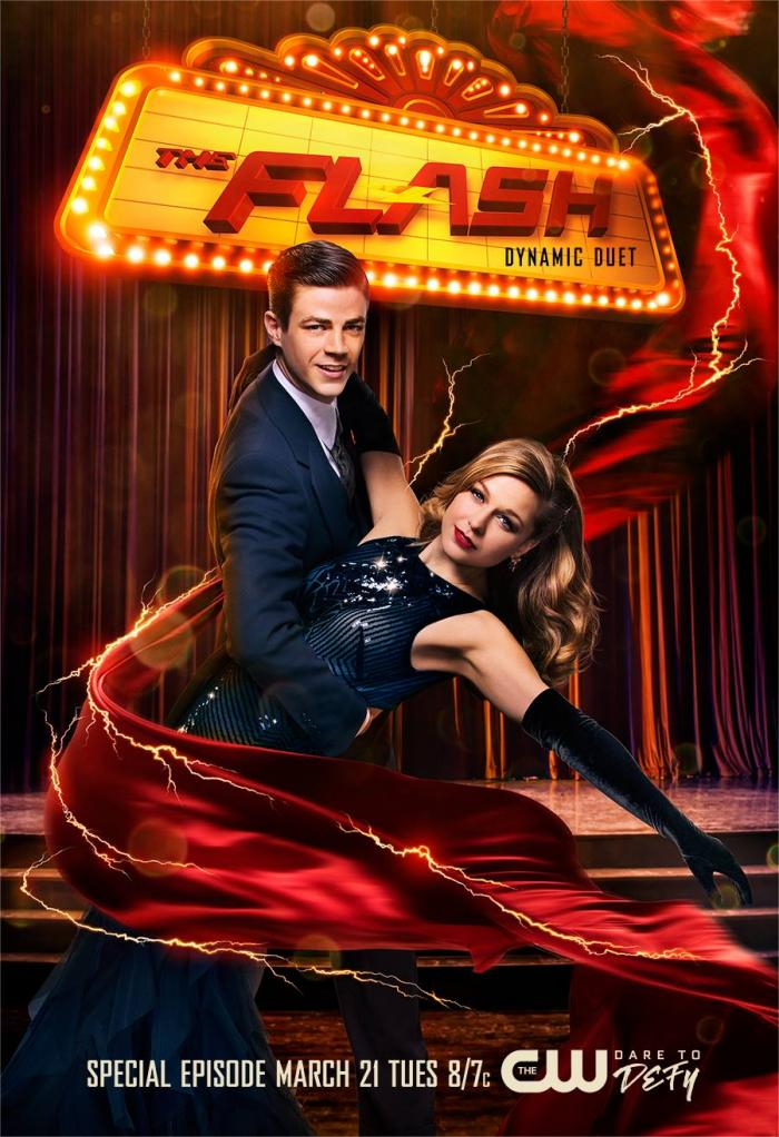Póster del crossover musical de The Flash y Supergirl