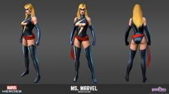 Concept art: Model Sheet de Ms Marvel del videojuego Marvel Heroes