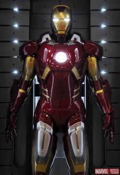 Image of the Mark VII in the Hall of Armors of Iron Man 3