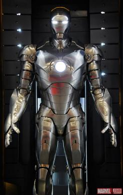Image of the Mark II in the Hall of Armors of Iron Man 3
