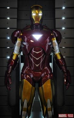 Image of the Mark VI in the Hall of Armors of Iron Man 3