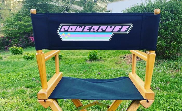 Official Powerpuff logo on the chair from the filming of the series