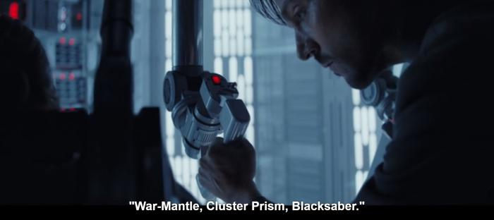 Reference to War-Mantle.  Cluster-Prism.  Black-Saber in Rogue One: A Star Wars Story