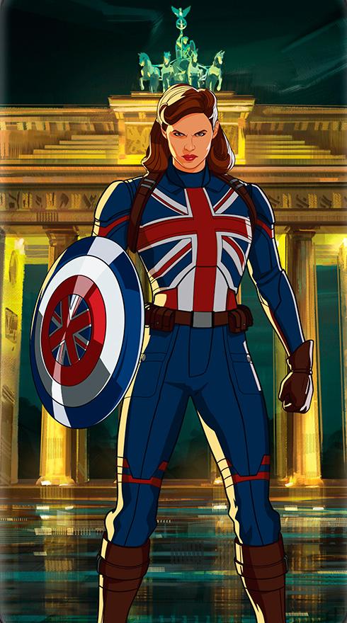 Arte promocional de Peggy Carter como Captain Britain en What If...?