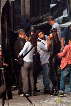Imagen del set de rodaje de The Dark Knight en Los Angeles