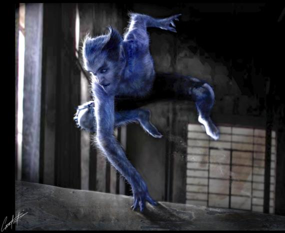 Concept art de Bestia en X-Men: First Class / X-Men: Primera Generación (2011), por Constantine Sekeris