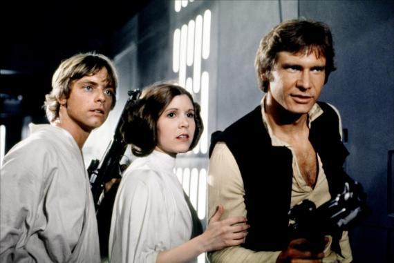 Imagen de Star Wars: Episodio IV - Una Nueva Esperanza (1977), Luke Skywalker, la princesa Leia y Han Solo