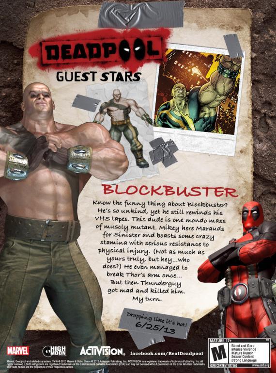Blockbuster en el juego Deadpool (2013)