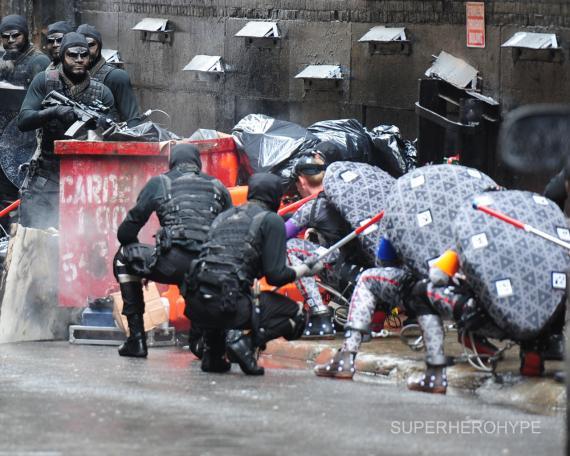 Imagen del set de rodaje de Ninja Turtles (2014) en Nueva York