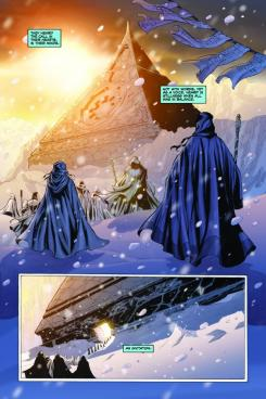 Interior del cómic estadounidense Star Wars: Dawn of the Jedi #1