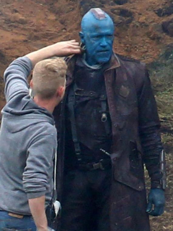 Imagen del set de rodaje de Guardianes de la Galaxia (2014) en Reino Unido, Michael Rooker como Yondu