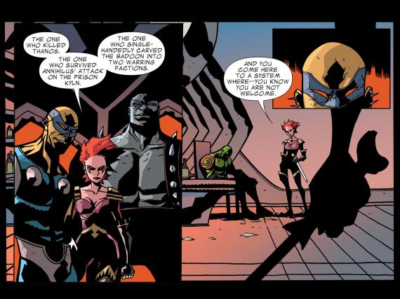 Interior del cómic Guardians of the Galaxy: Tomorrow's Avengers #1, dibujo por MIchael Avon Oeming