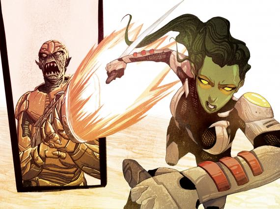 Interior del cómic Guardians of the Galaxy: Tomorrow's Avengers #1, dibujo por MIchael del Mundo. Gamora contra los Badoon