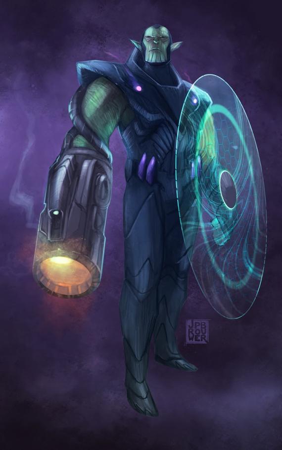 Arte conceptual del videojuego cancelado de The Avengers / Los Vengadores, Comandante Skrull por James P. Brouwer