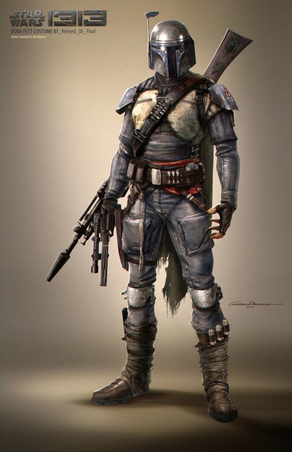 Concept art del cancelado juego Star Wars 1313, arte por Gustavo Mendonca