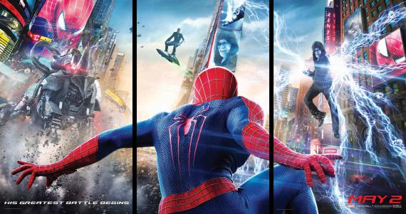 "póster tríptico de ""The Amazing Spider-Man 2: Rise of Electro"""