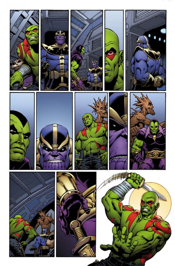 Avance del cómic Thanos: The Infinity Revelation. Guardianes de la Galaxia y Thanos. Arte por Jim Starlin