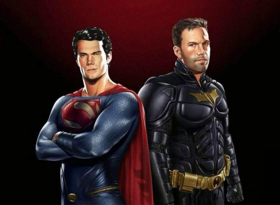 Fan-Art de Henry Cavill como Superman y Ben Affleck como Batman en Batman vs. Superman (2016)