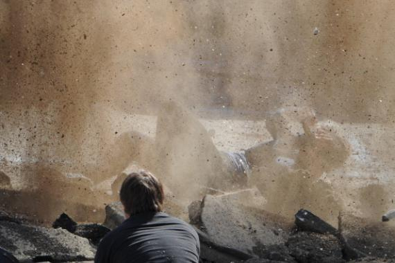 Set de rodaje de Los Vengadores: Era de Ultrón (2015) en el Valle de Aosta, Italia