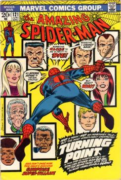 Portada del cómics The Amazing Spider-Man #121, comienzo del arco en el que muere Gwen Stacy