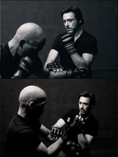 Imagen de la revista Men's Fitness: Robert Downey entrrenando