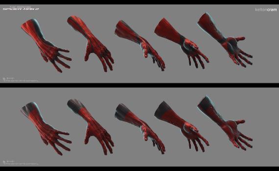 Concept art de The Amazing Spider-Man 2: El Poder de Electro (2014), diseño alternativo de  os guantes de Spidey, por Kelton Cram