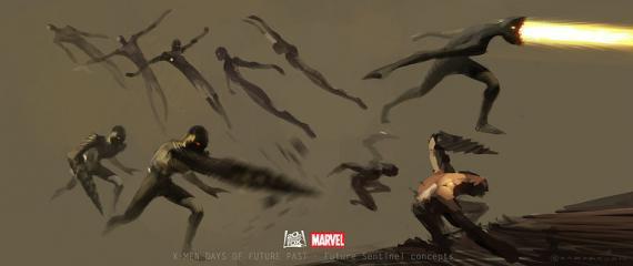 Concept art de X-Men: Días del Futuro Pasado (2014), diseño alternativo de los Centinelas por Goran Bukvic