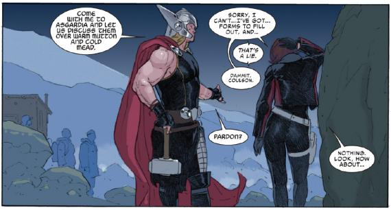 Interior del cómic Thor: God Of Thunder 19.Now, Thor y Rosalind 'Roz' Solomon. Arte por Esad Ribic
