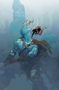 Interior del cómic Thor: God Of Thunder 19.Now, Thor y un Gigante de Hielo. Arte por Esad Ribic