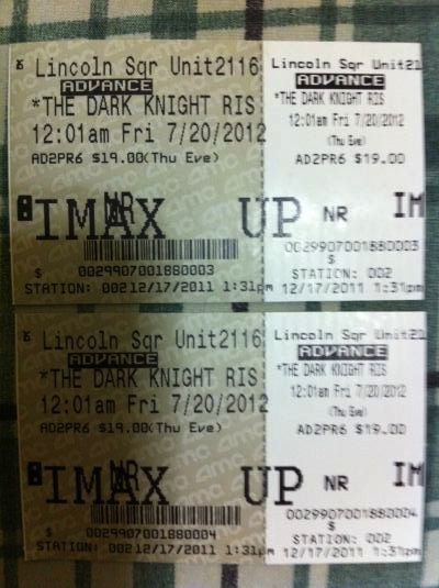 Tickets vendidos en Diciembre para ver The Dark Knight Rises en IMAX