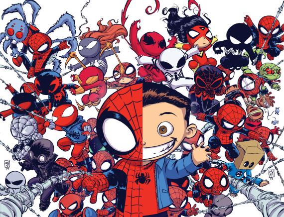 Portadas alternativas de Spider-Verse dibujadas por Skottie Young para Superior Spider-Man #32 y The Amazing Spider-Man #9