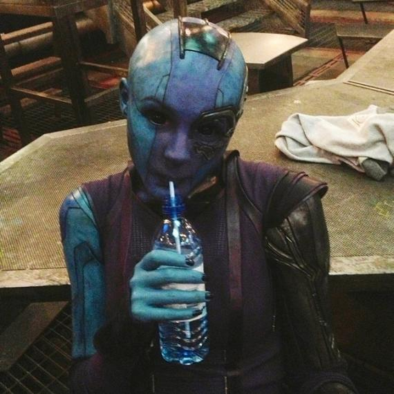Imagen detrás de las cámaras de Guardianes de la Galaxia (2014), Karen Gillan como Nébula