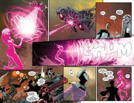 Interior del cómic estadounidense Guardians of The Galaxy v3, 13, arte por Sara Pichelli y David Marquez