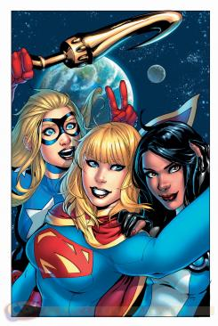 Portada alternativa selfie de Justice League United #4 por Emanuela Lupacchino