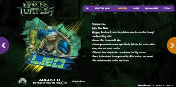Imagen promocional de la web de Teenage Mutant Ninja Turtles (2014)