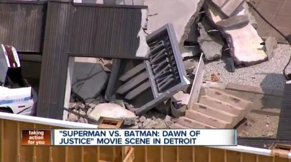 Imagen del set de Batman v Superman: Dawn of Justice captada por WXYZ Detroit