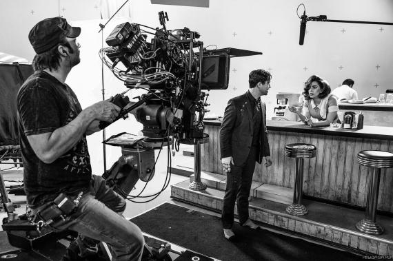 Imagen del set de Sin City: A Dame to Kill For (2013), Robert Rodriguez, Josepg Gordon-Levitt y Lady Gaga