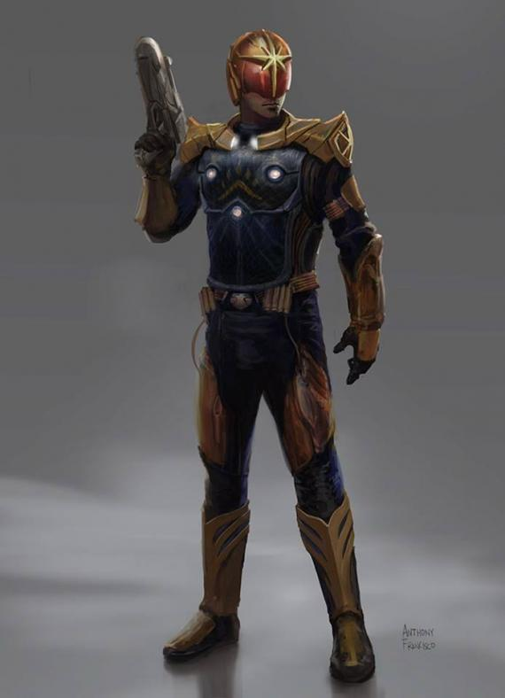 Concept art de los Nova Corps en Guardianes de la Galaxia (2014), de Anthony Francisco