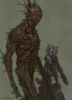 Concept art de Guardianes de la Galaxia (2014), Groot y Rocket por Andy Park